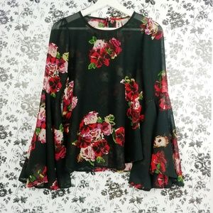Mimi Chica floral sheer bell sleeve top
